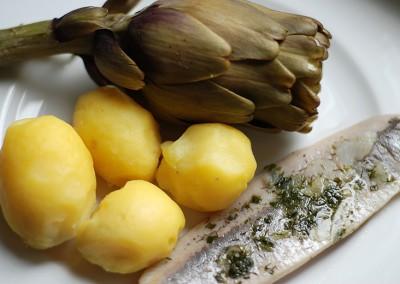 Artischocke Kartoffeln Matjesfilet