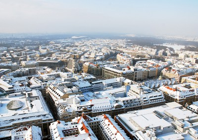 Leipzig verschneit Winter Blick