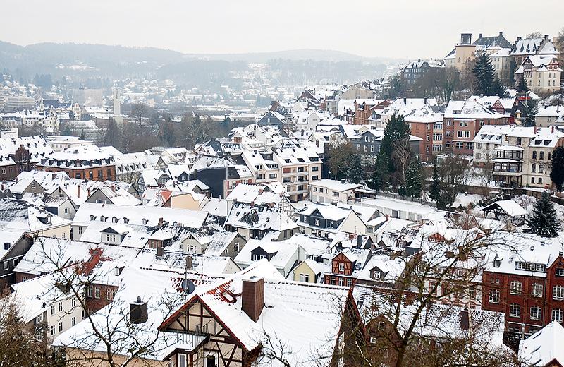 Marburg Lahntal bei Schnee